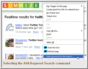 Selecting the Add Keyword Search command