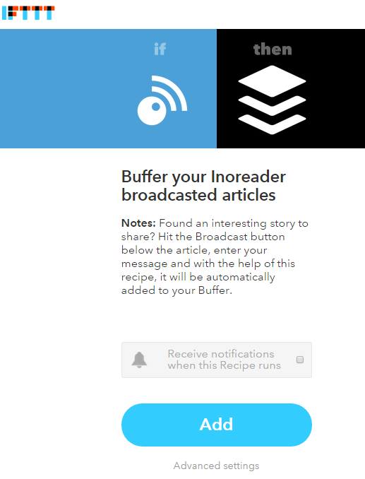 Recipe that passes articles broadcasted in Inoreader on to Buffer